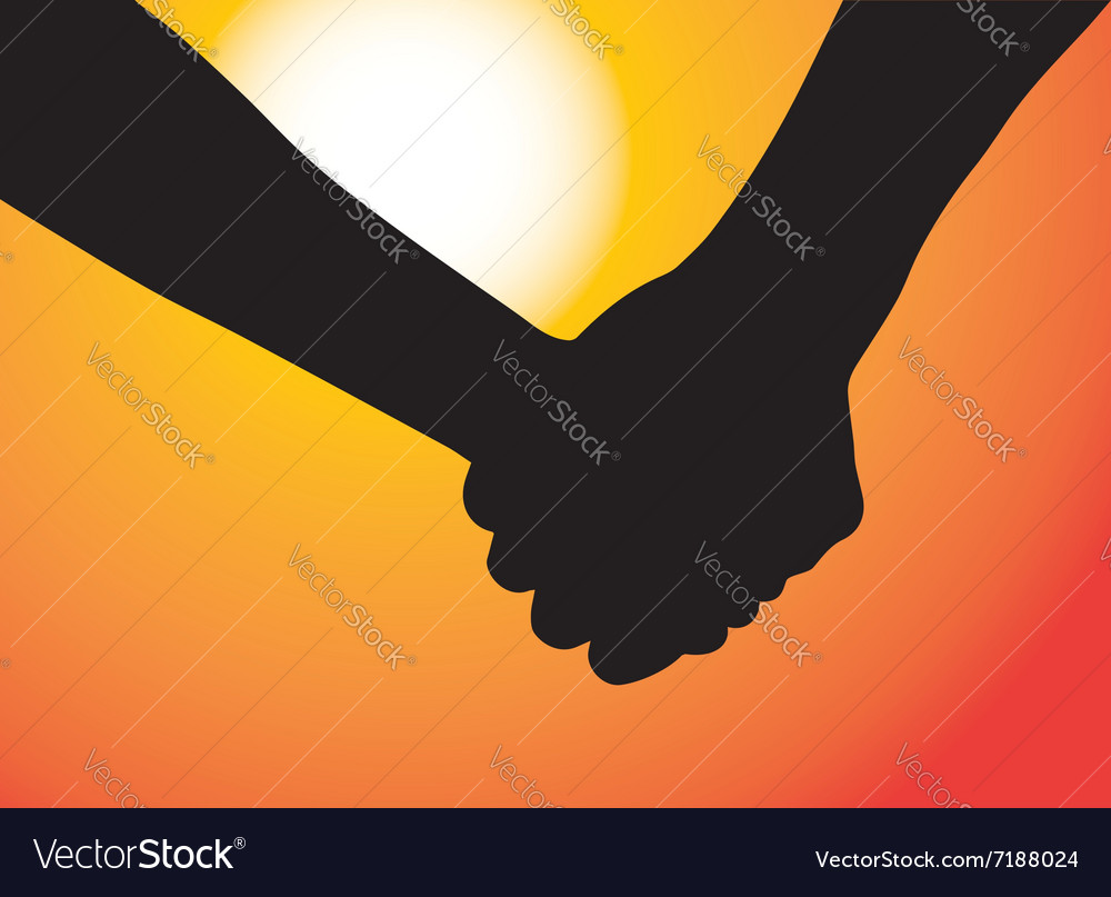 Hands of couple in love Sunset as background vector image