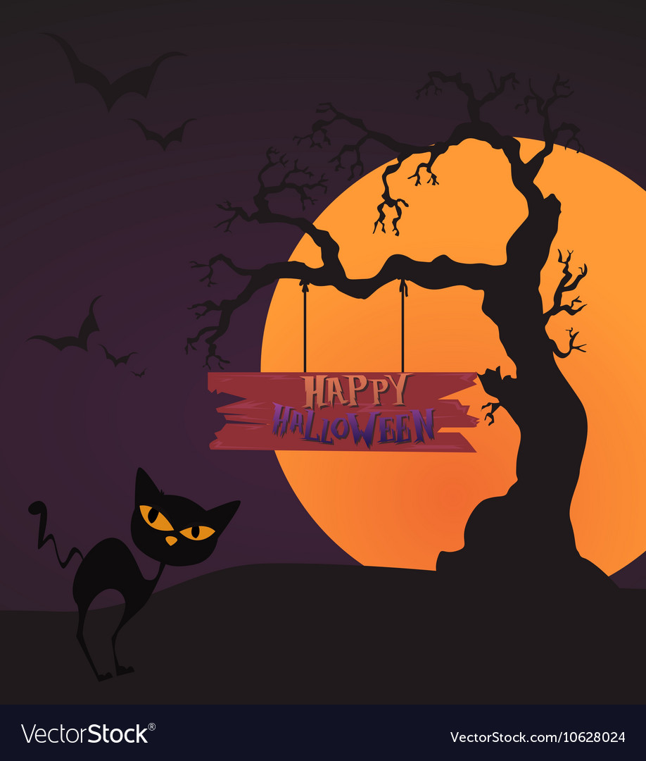 Happy Halloween Card Template Mix Moon and tree