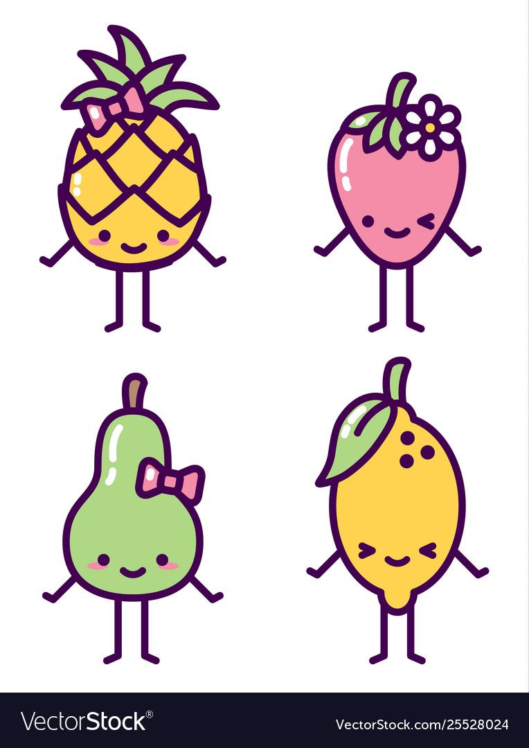 Isolated fruit characters kawaii cute set
