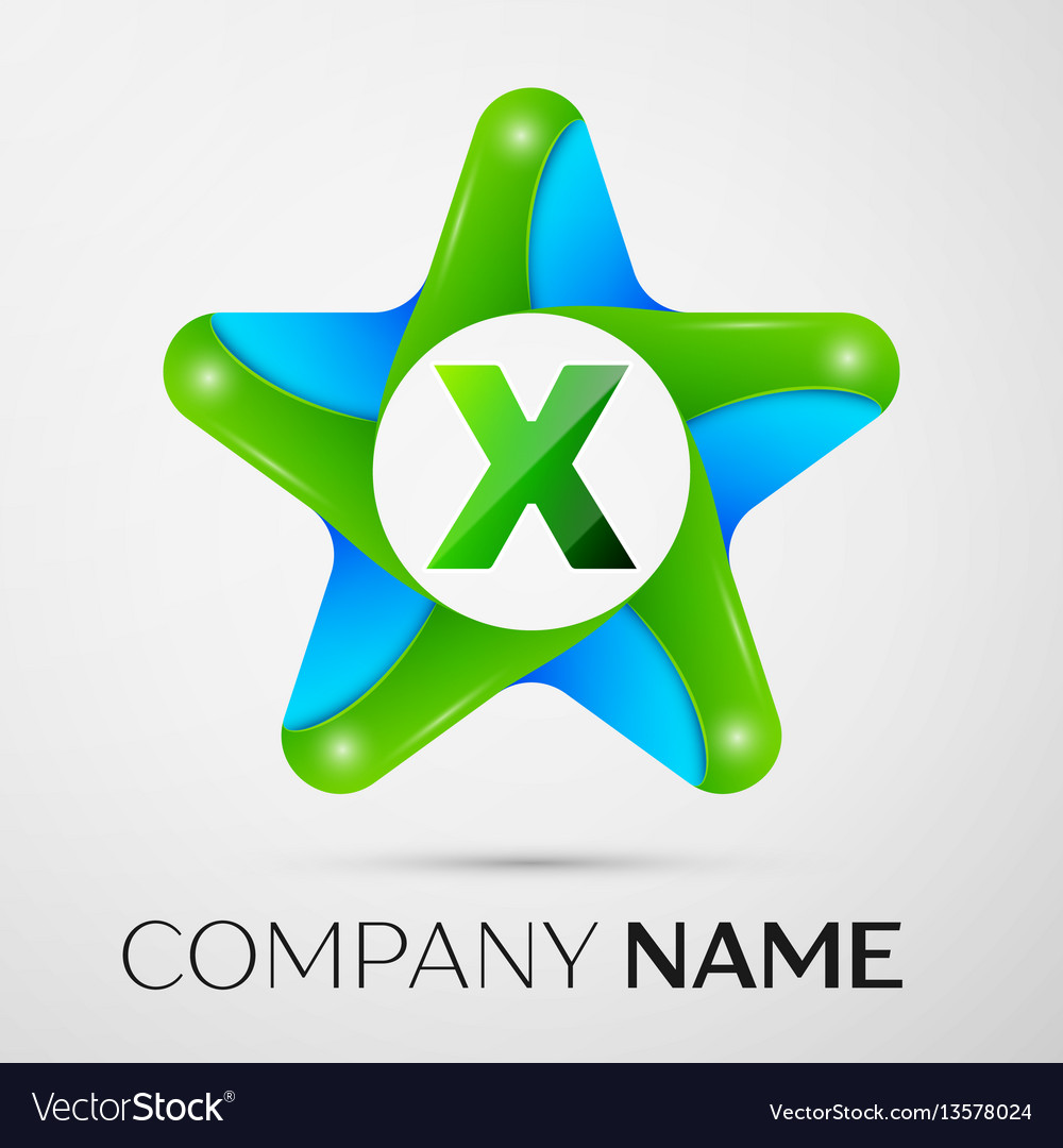 Letter x logo symbol in the colorful star on grey vector image
