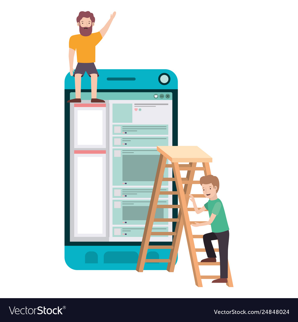 Men with smartphone and stepladder avatar chatacte