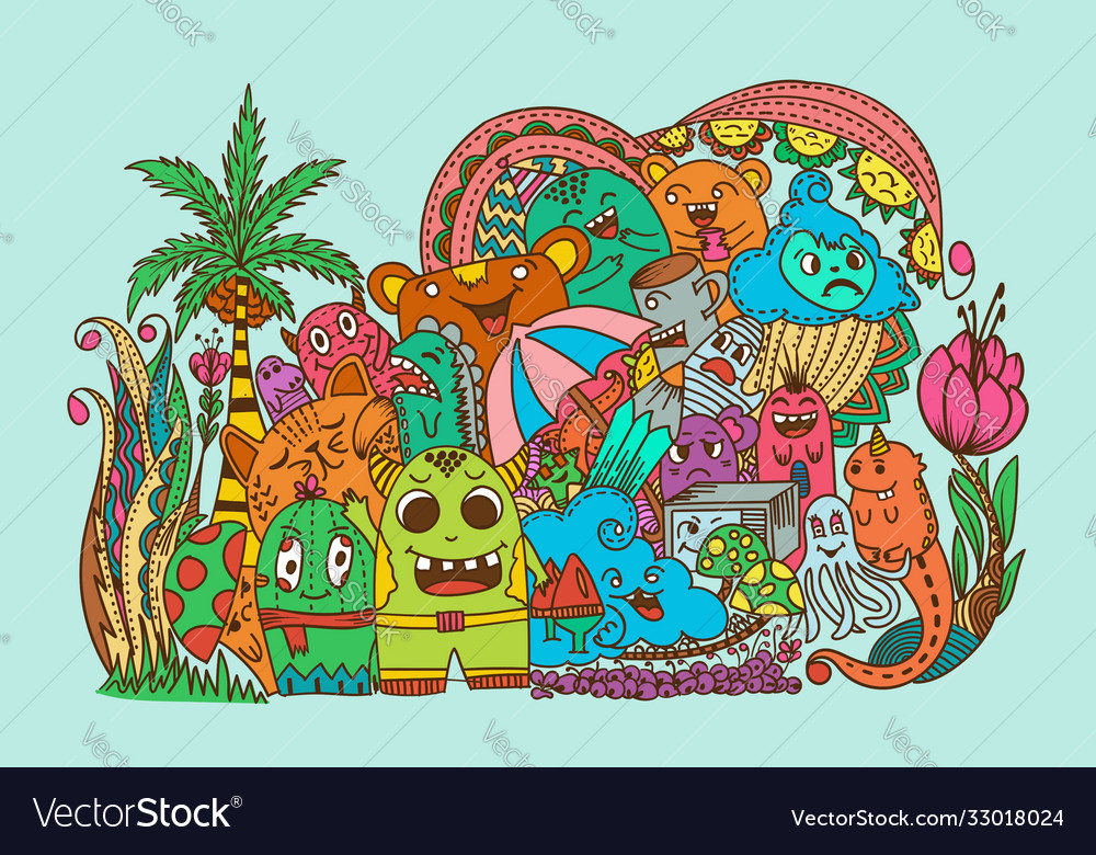 Mix doodle monster and nature summer