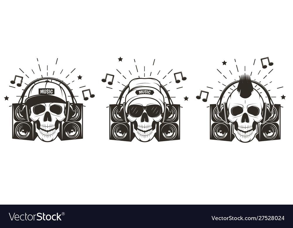 Music skull set hand drawn