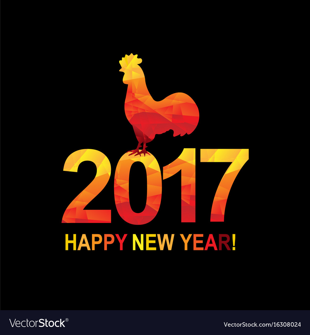 New year postcard with rooster