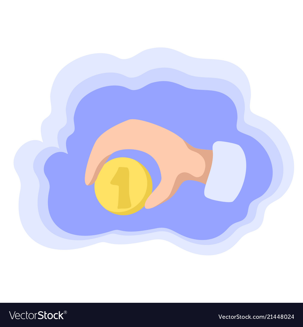 One coin in hand money saving colorful icon