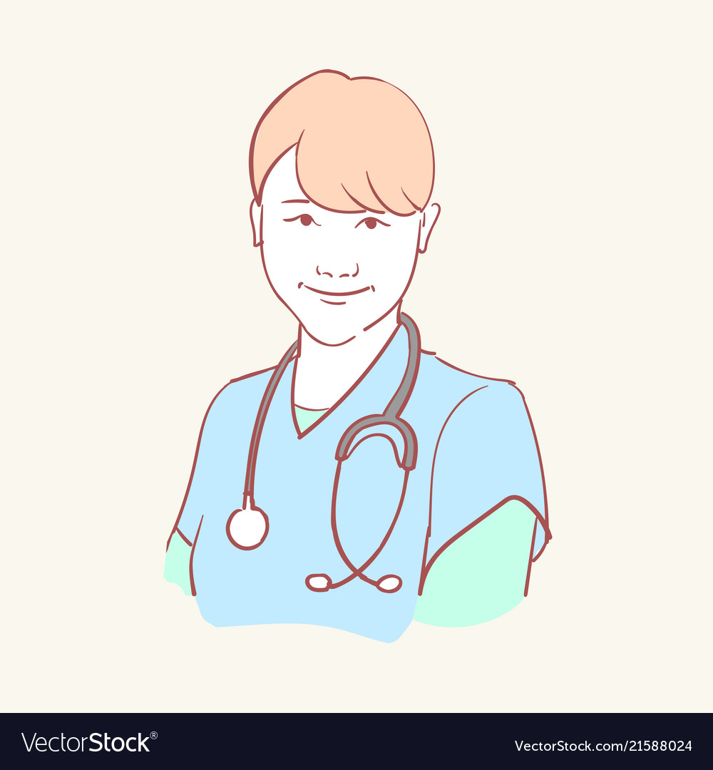 Online medical assistant doctor support hand drawn