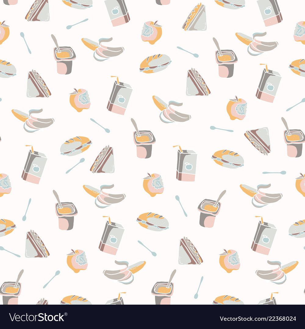 Packed lunch seamless pattern hand drawn flat