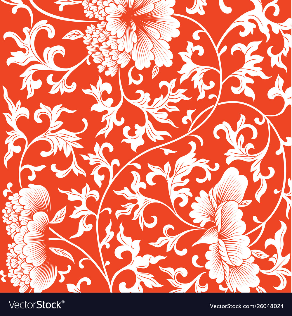 Pattern on red background with chinese flowers