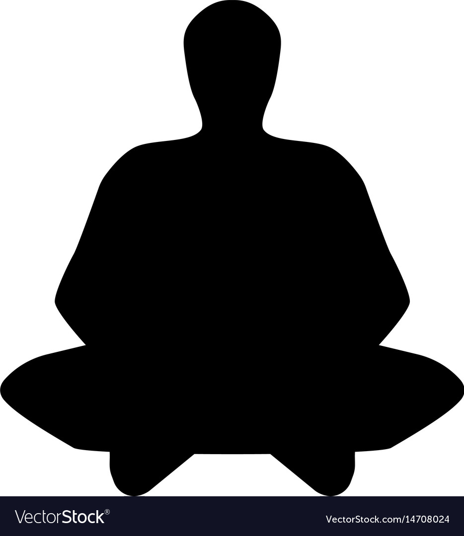 The meditator man black icon vector image