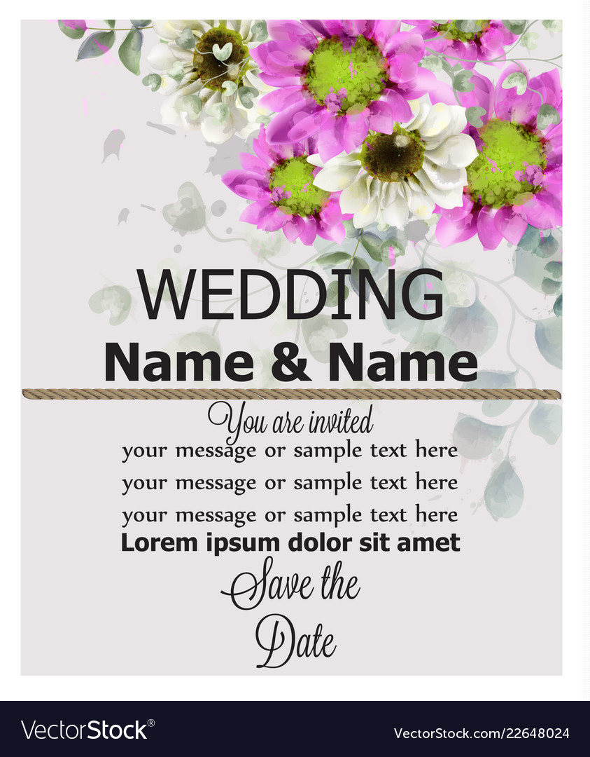 Wedding Invitation Spring Flowers Background Vector Image