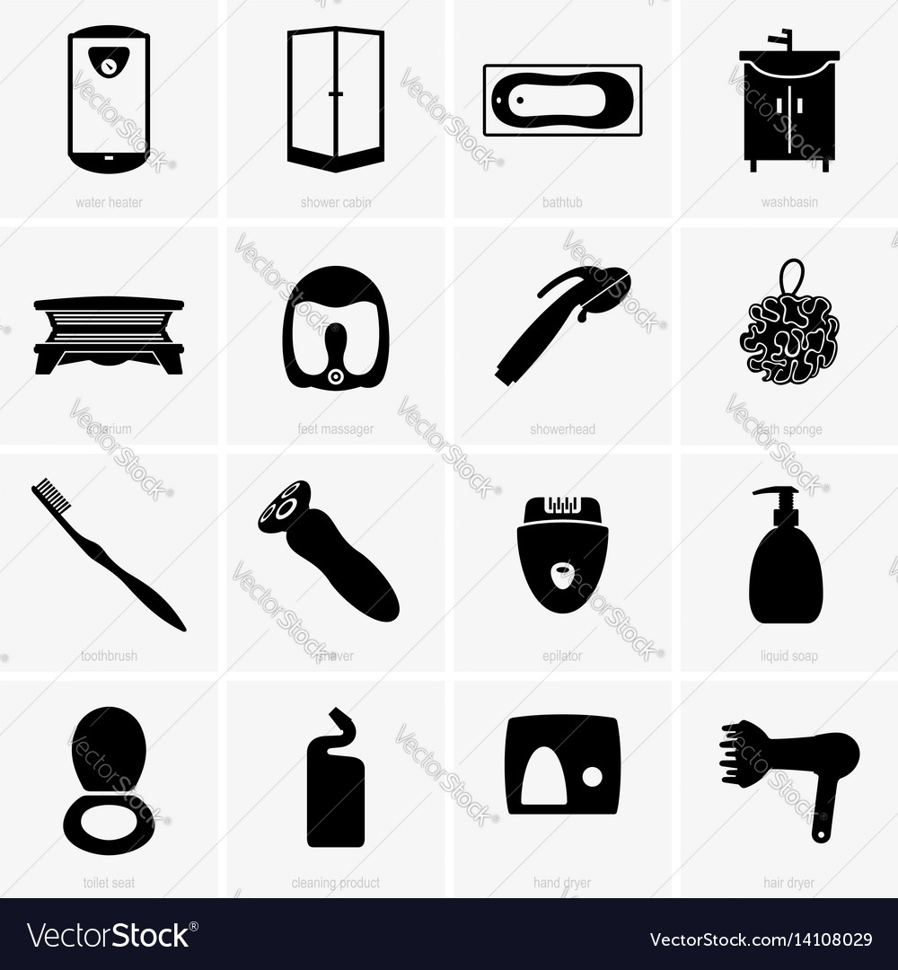 Bathroom Objects Royalty Free Vector Image Vectorstock