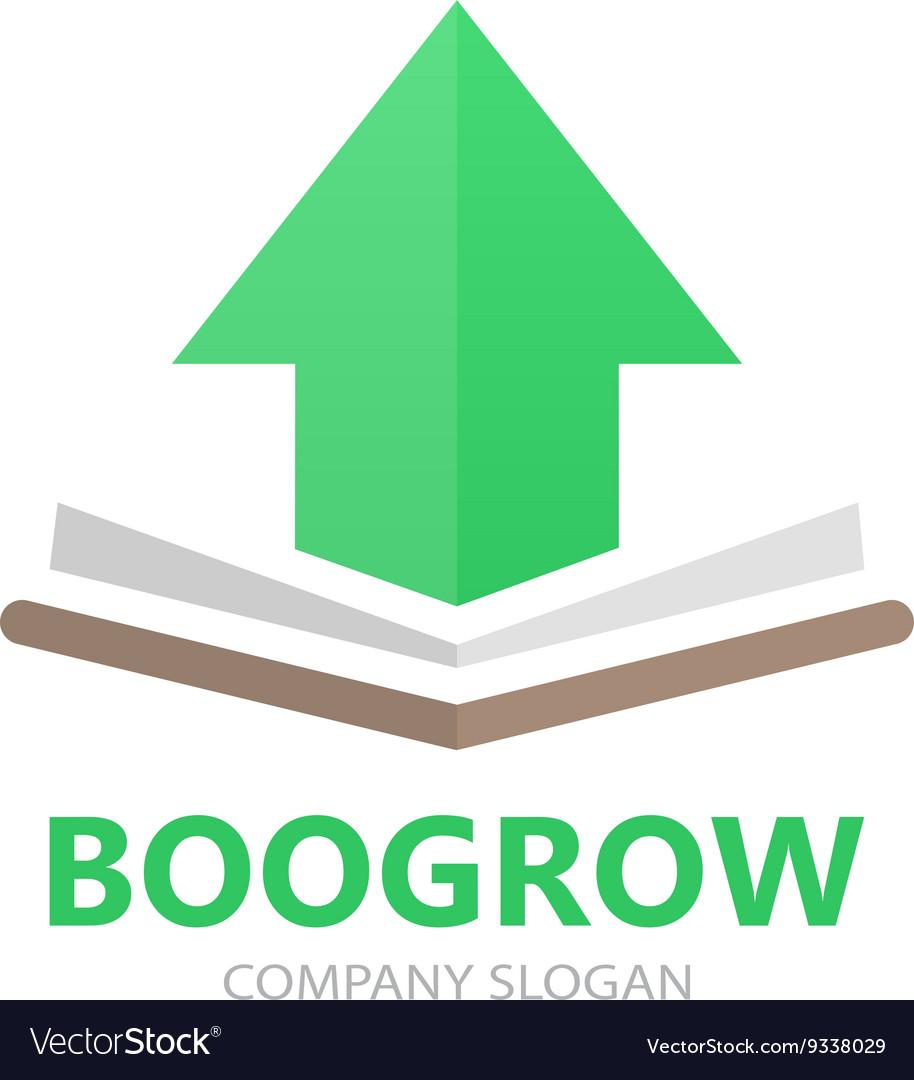Book and up arrow logo concept