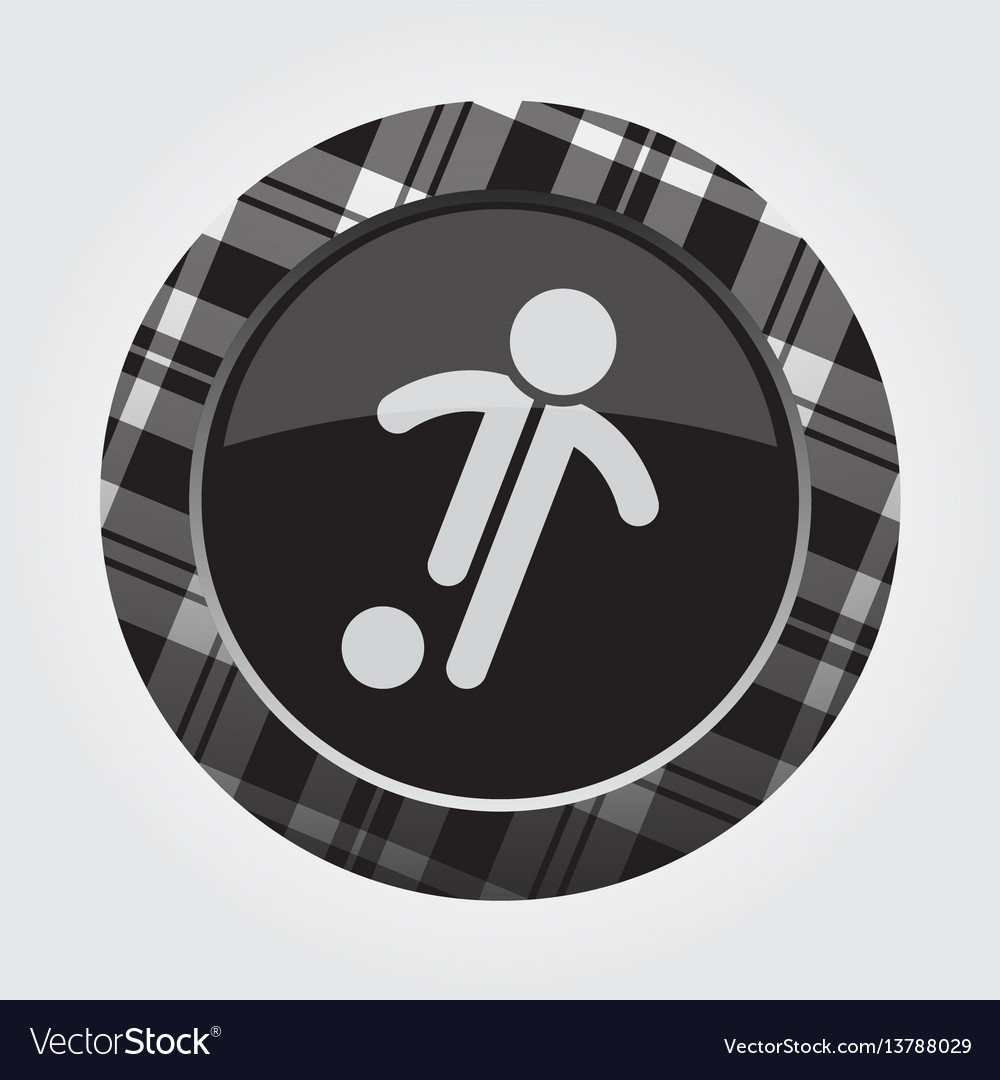 Button white black tartan-football soccer player vector image