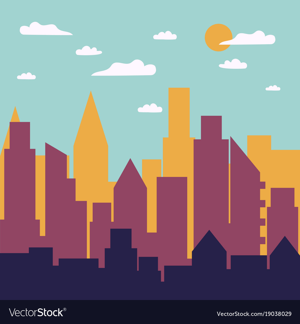 color day city panorama silhouette royalty free vector image rh vectorstock com city victorville water city victorville