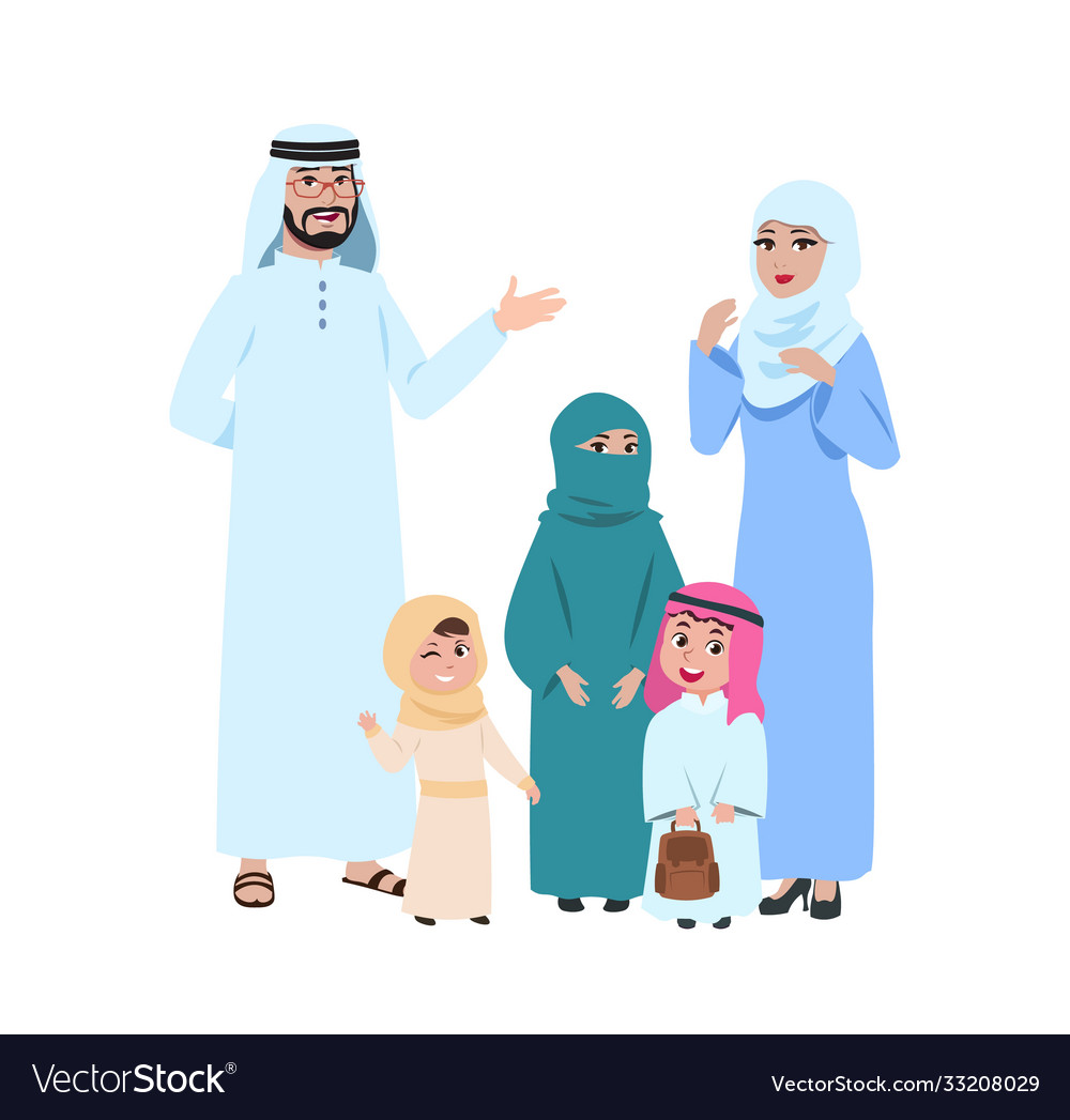 Happy arab family muslim young people islamic vector
