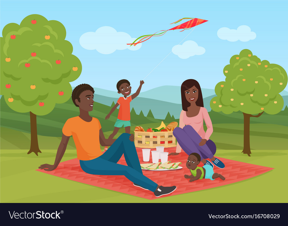 Happy young african american family with kid on a vector image