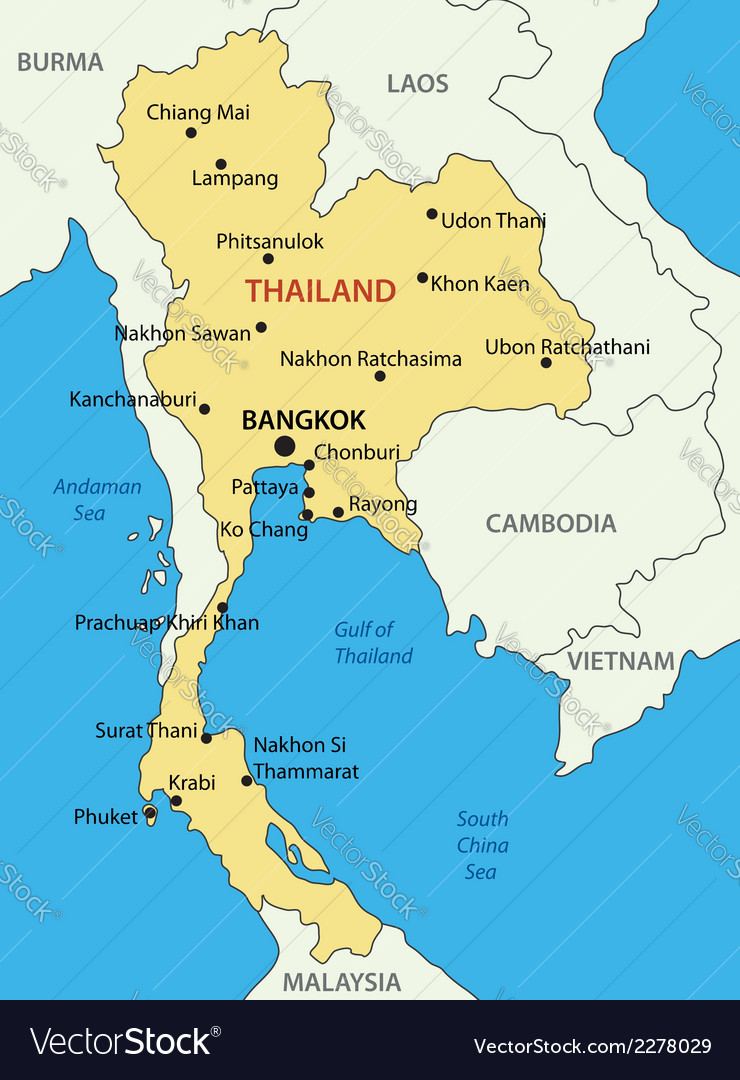 Thailand On A Map Kingdom of Thailand   map Royalty Free Vector Image Thailand On A Map