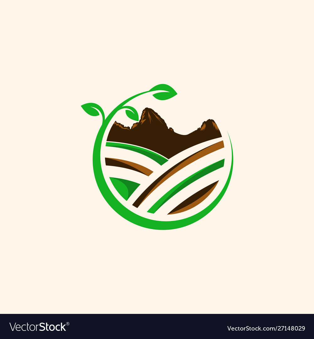 Mountain leaf landscaping creative logo