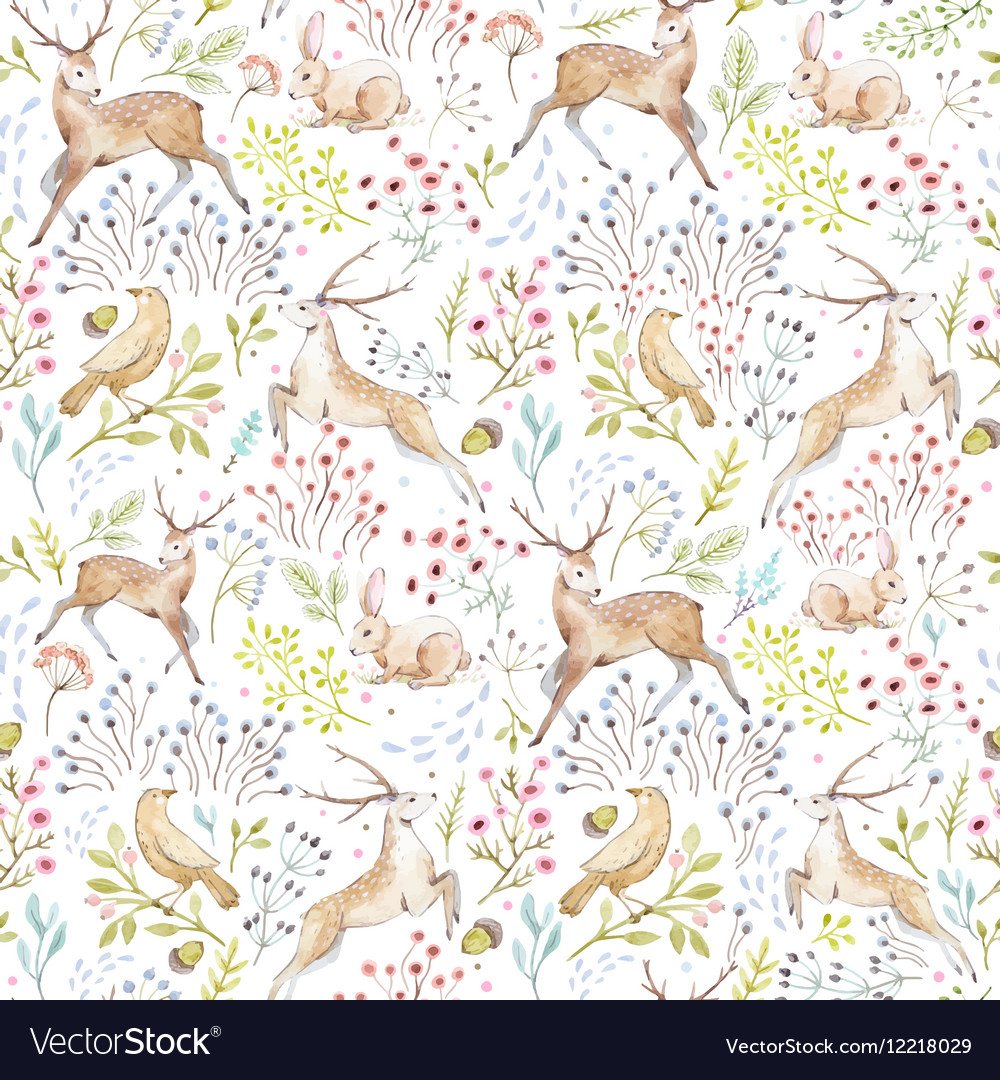 Nice watercolor forest pattern vector image