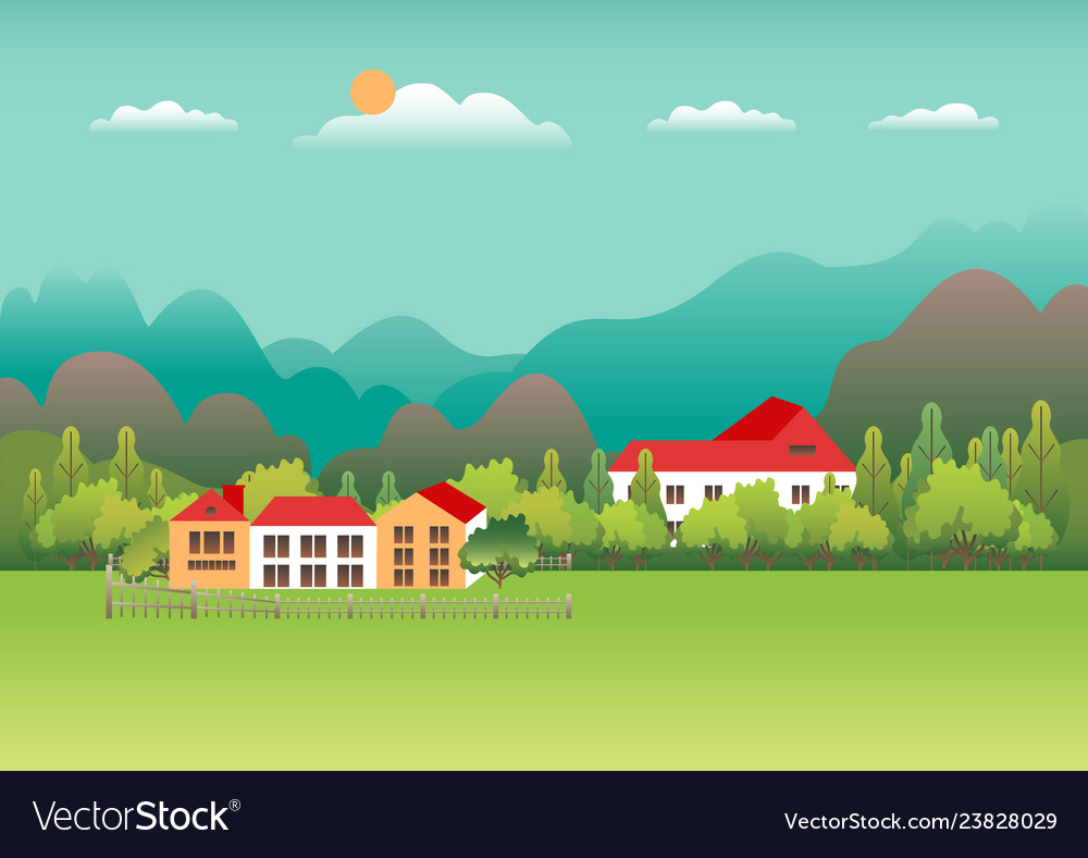 Rural valley farm countryside village landscape