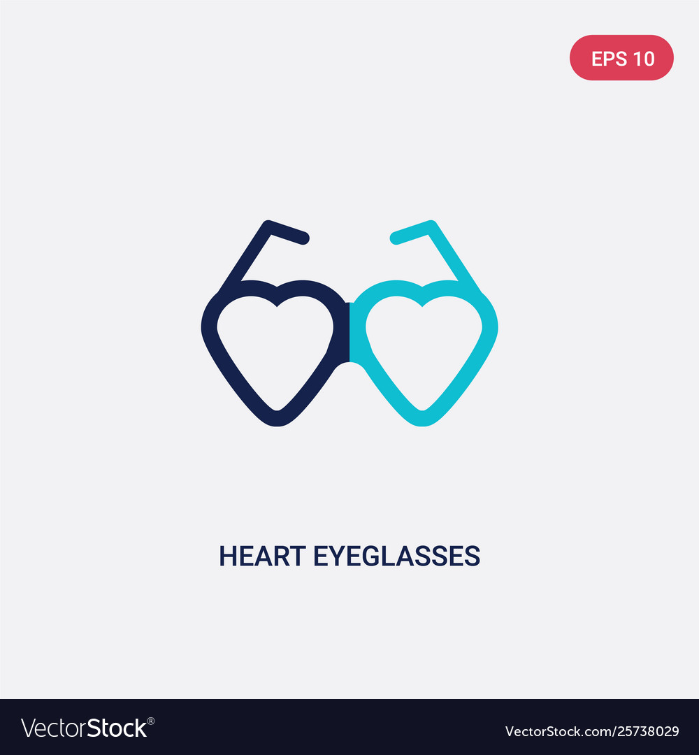 Two color heart eyeglasses icon from fashion