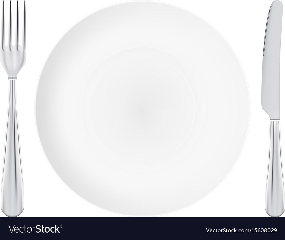 White plate with fork and knife crossed isolated vector image