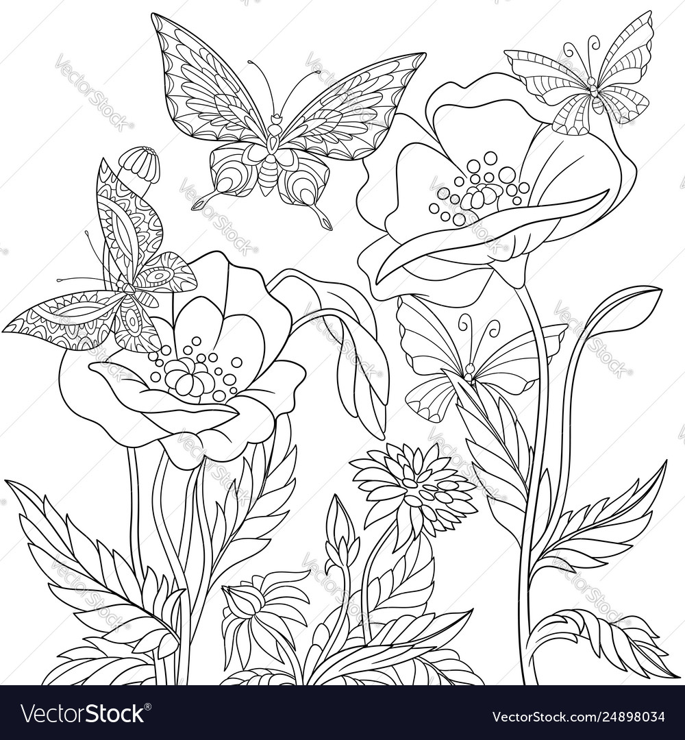 Butterflies and poppy flowers adult coloring page