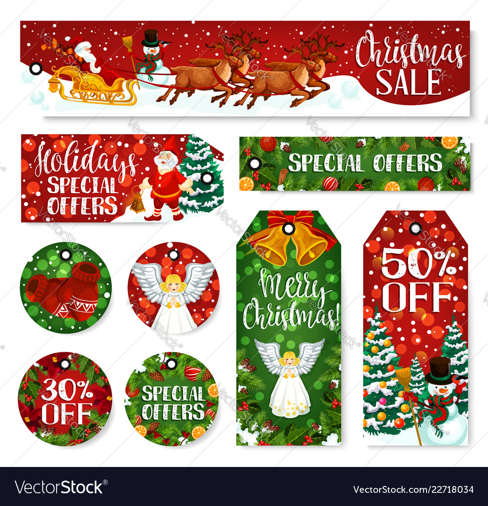 Christmas winter holiday sale tag and labels