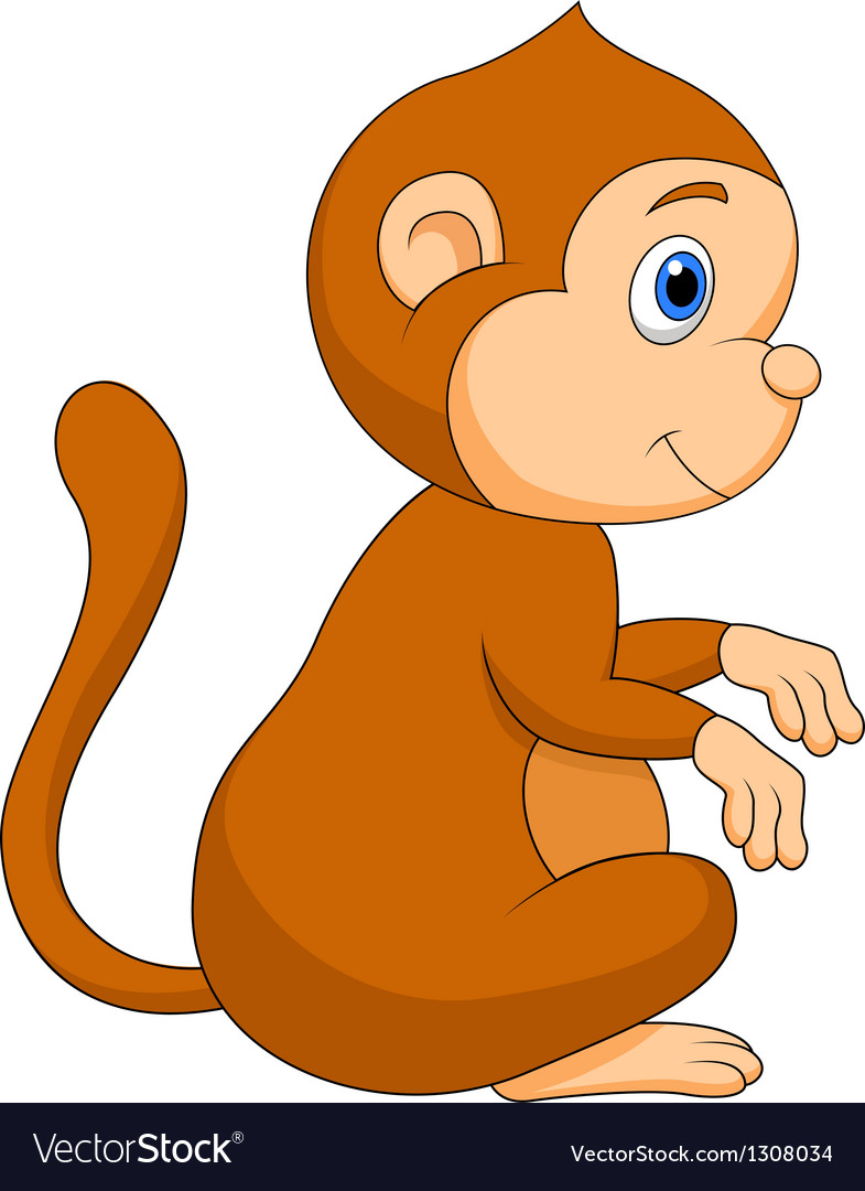 cute monkey cartoon sitting royalty free vector image