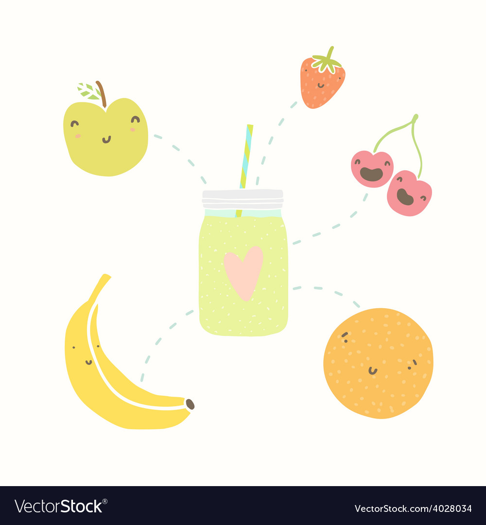 Jar with smoothie and funny fruits