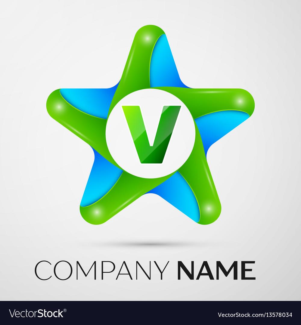 Letter v logo symbol in the colorful star on grey
