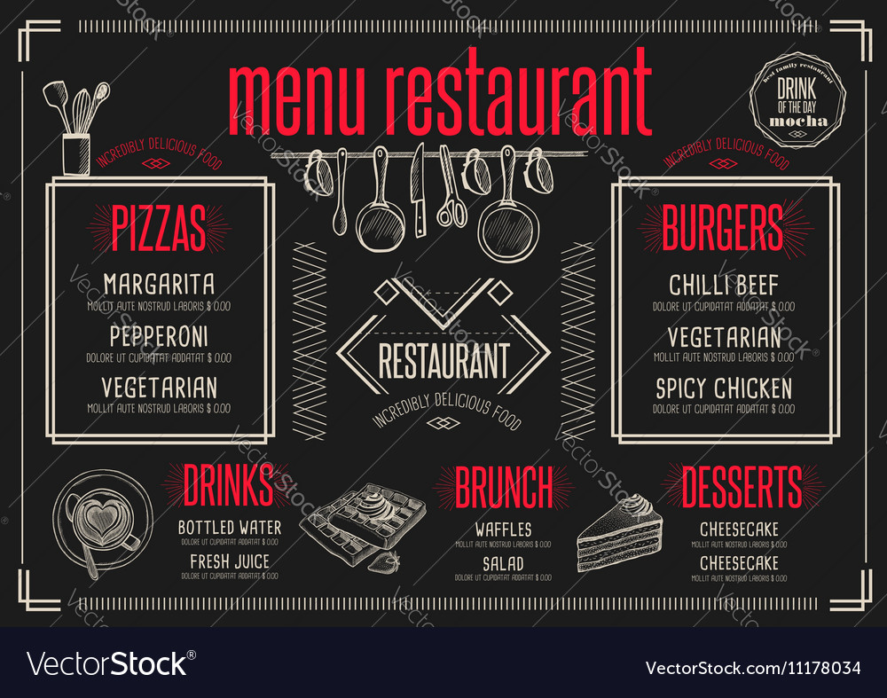 menu restaurant food template placemat royalty free vector
