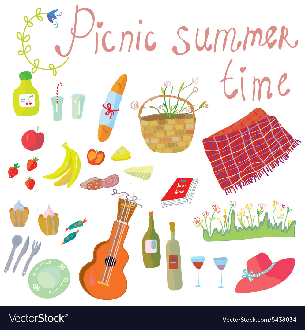 Picnic objects for romantic summer date vector image