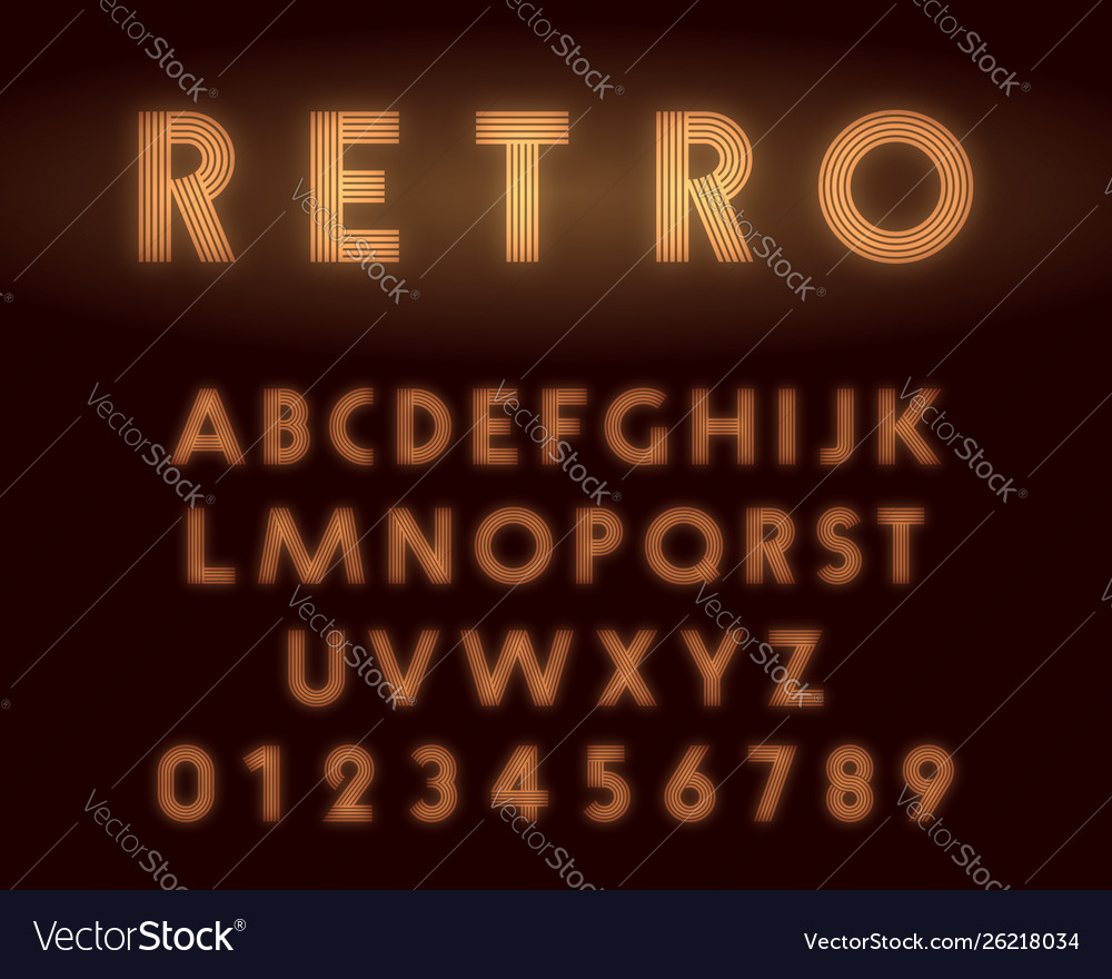 Retro neon alphabet font letters and numbers line