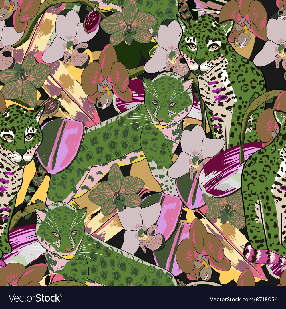 Seamless pattern of exotic flower orchid and