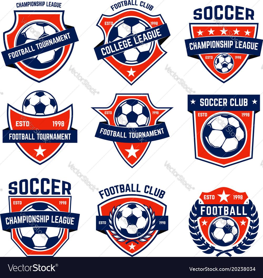 Set of soccer football emblems design element for