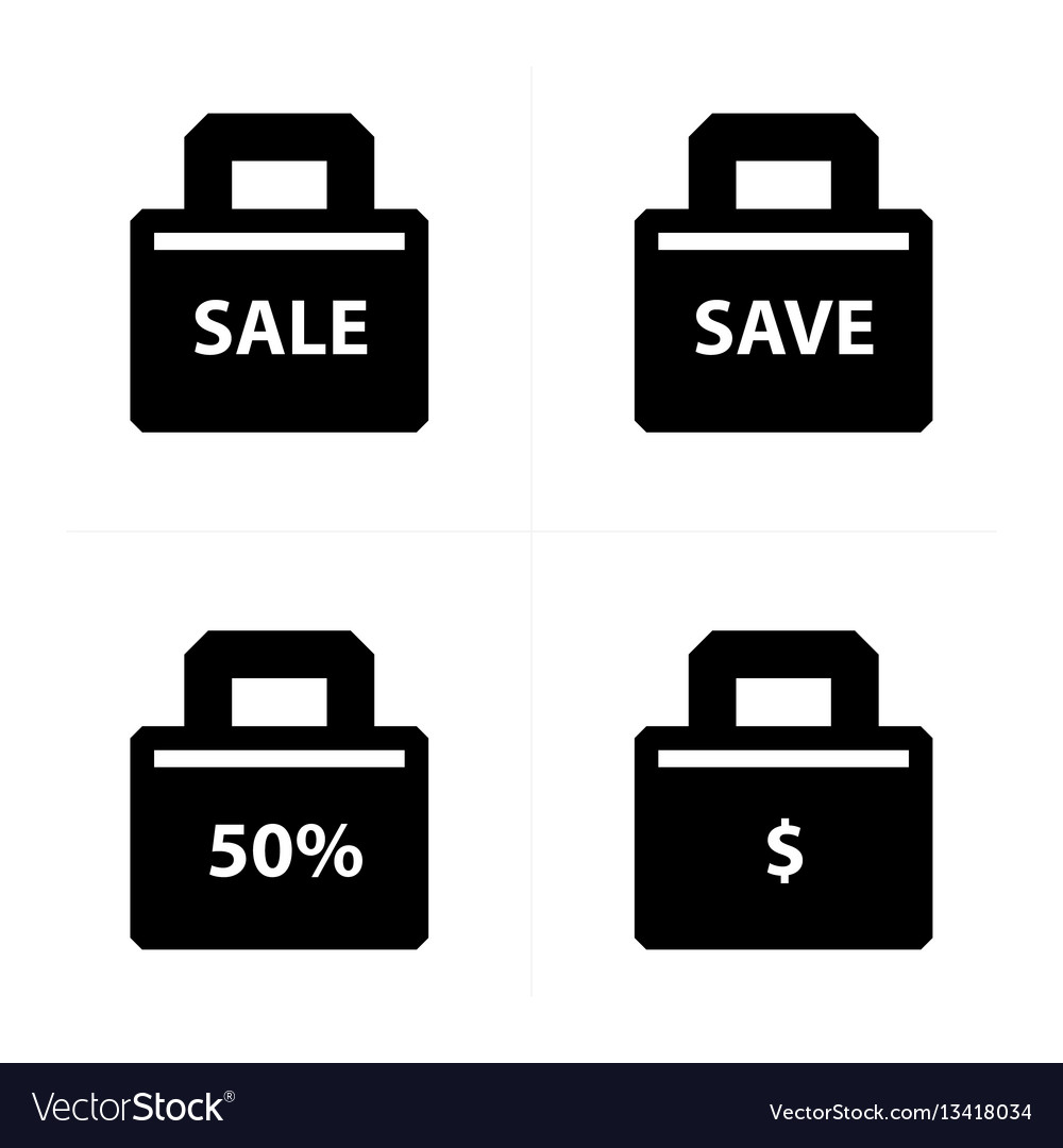 Shopping bags set price style vector image
