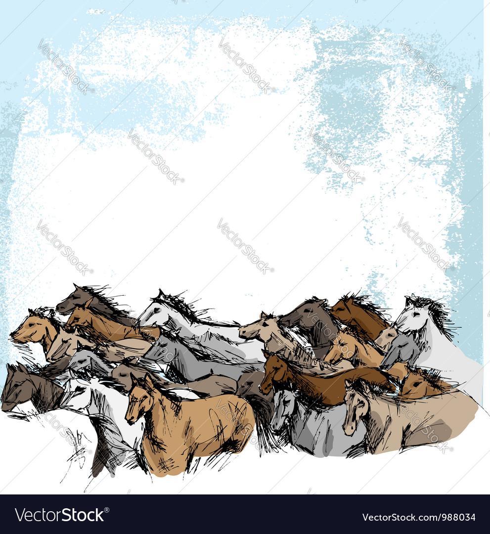 Sketch of white horse running