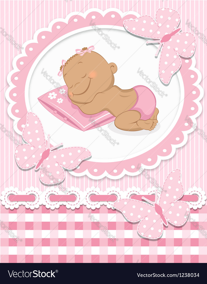 Sleeping African baby girl vector image