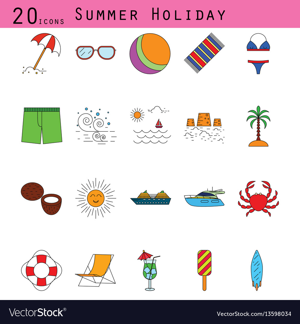 Summer holiday colored thin line icon set