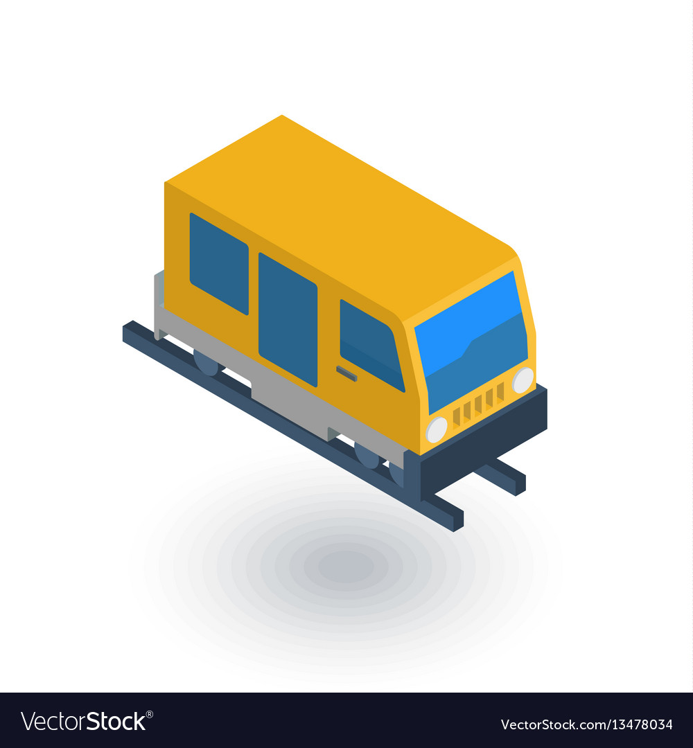 Train tram rails transport isometric flat icon