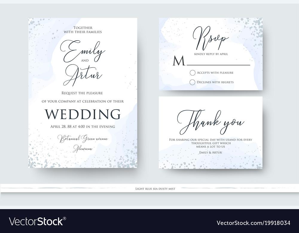 Wedding Invite Thank You Rsvp Card Design Set Vector Image