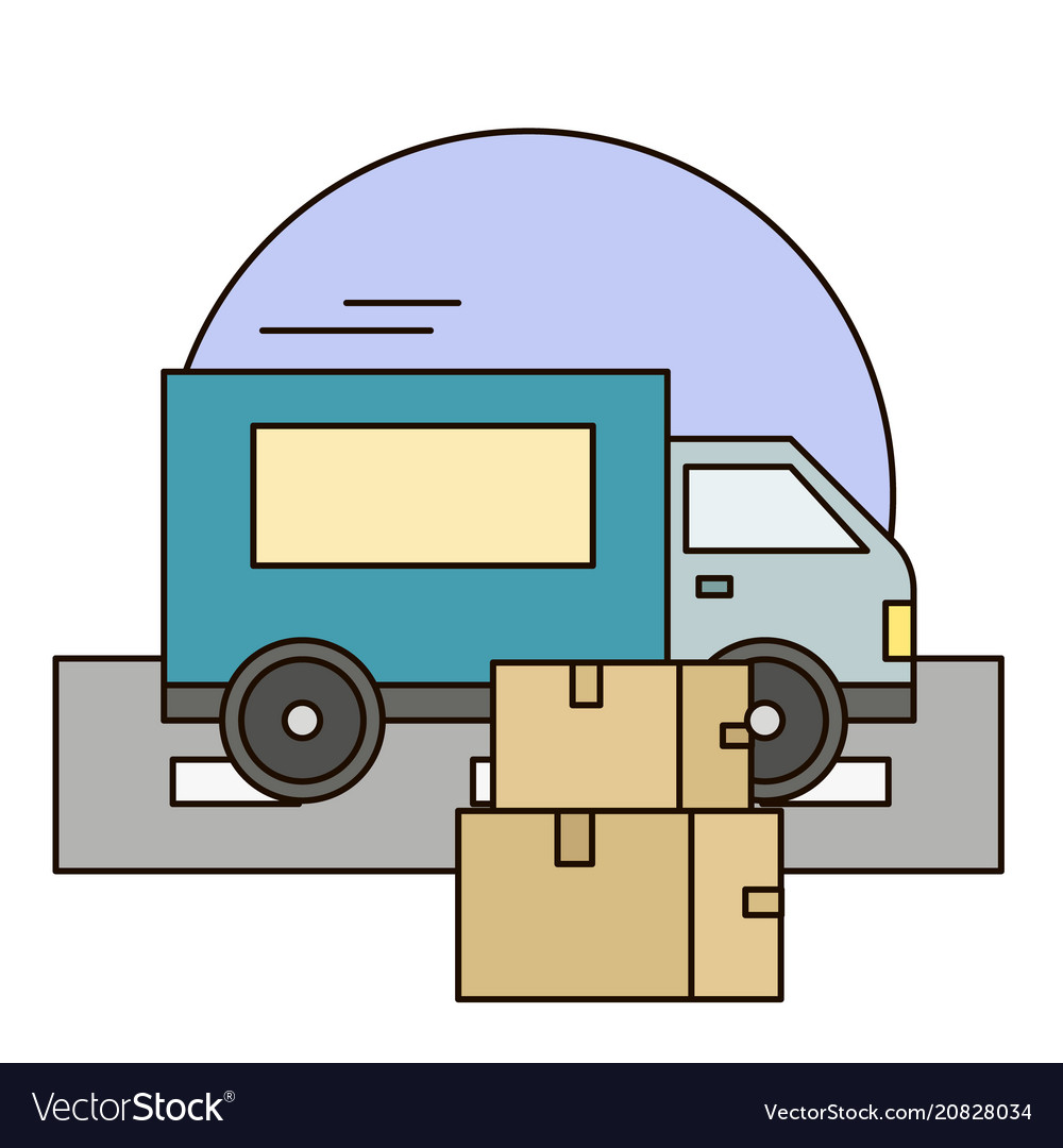 White delivery van with shadow and cardboard boxes