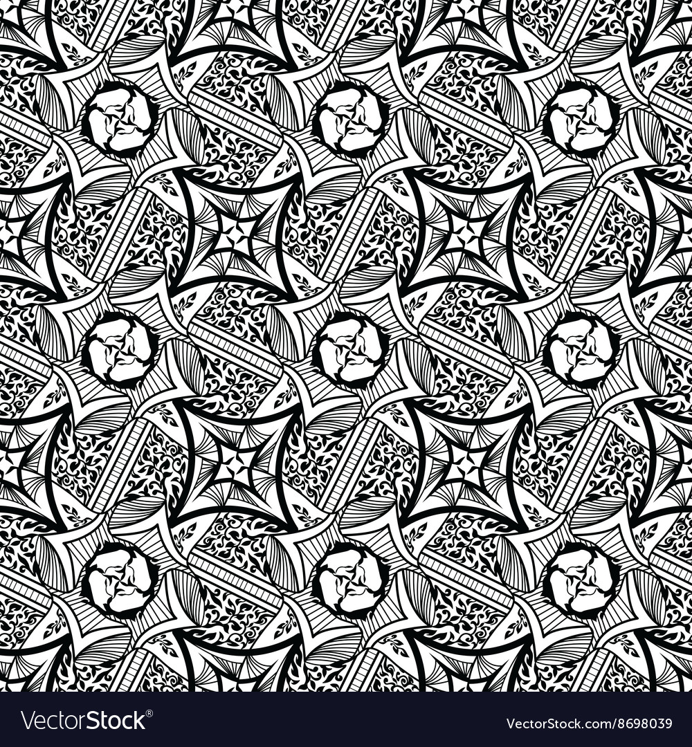 Abstract seamless pattern floral tribal style