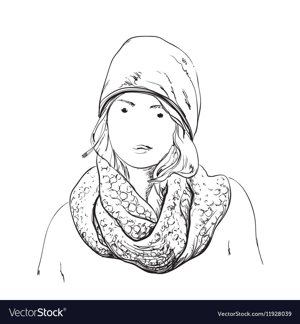 Beautiful Woman In Winter Scarf And Hat Fashion Vector Image