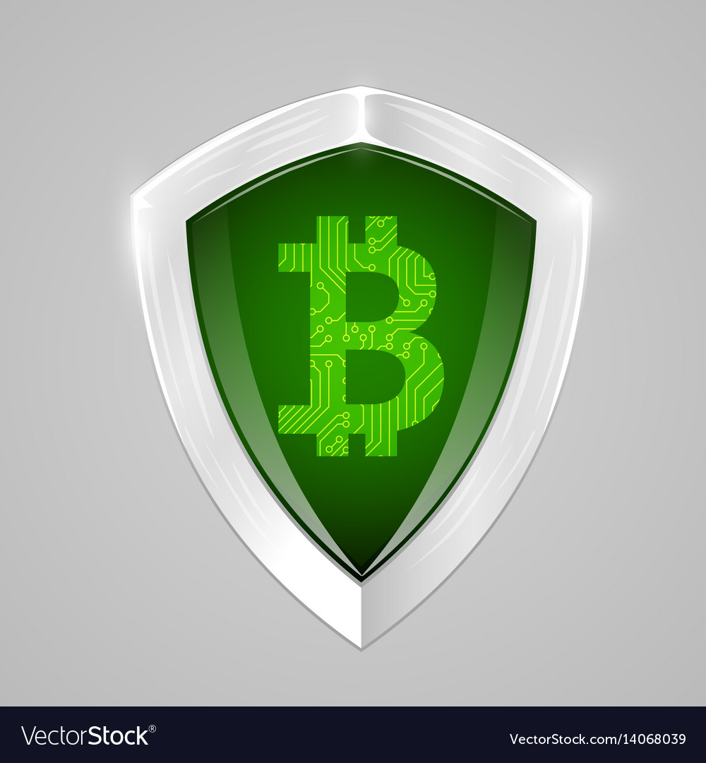 Bitcoin shield concept cryptography currency sign vector image