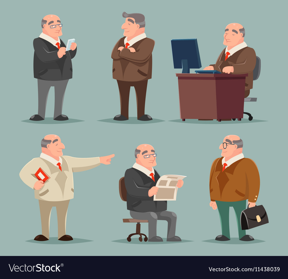 Businessman Big Boss Adult Old Man Character vector image