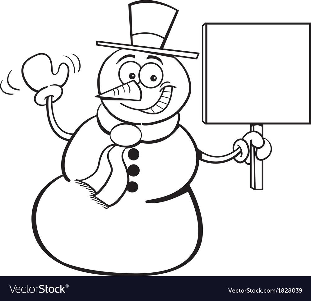 Cartoon Snowman Holding a Sign