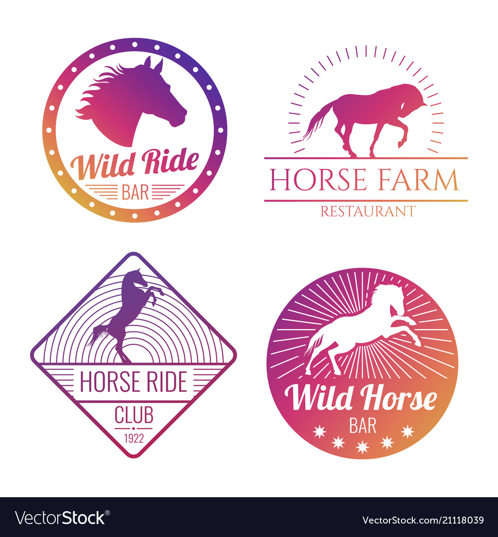 Colorful horse and mare emblems isolated on white