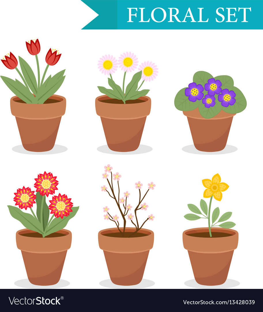 Flower pot with different flowers set flat style